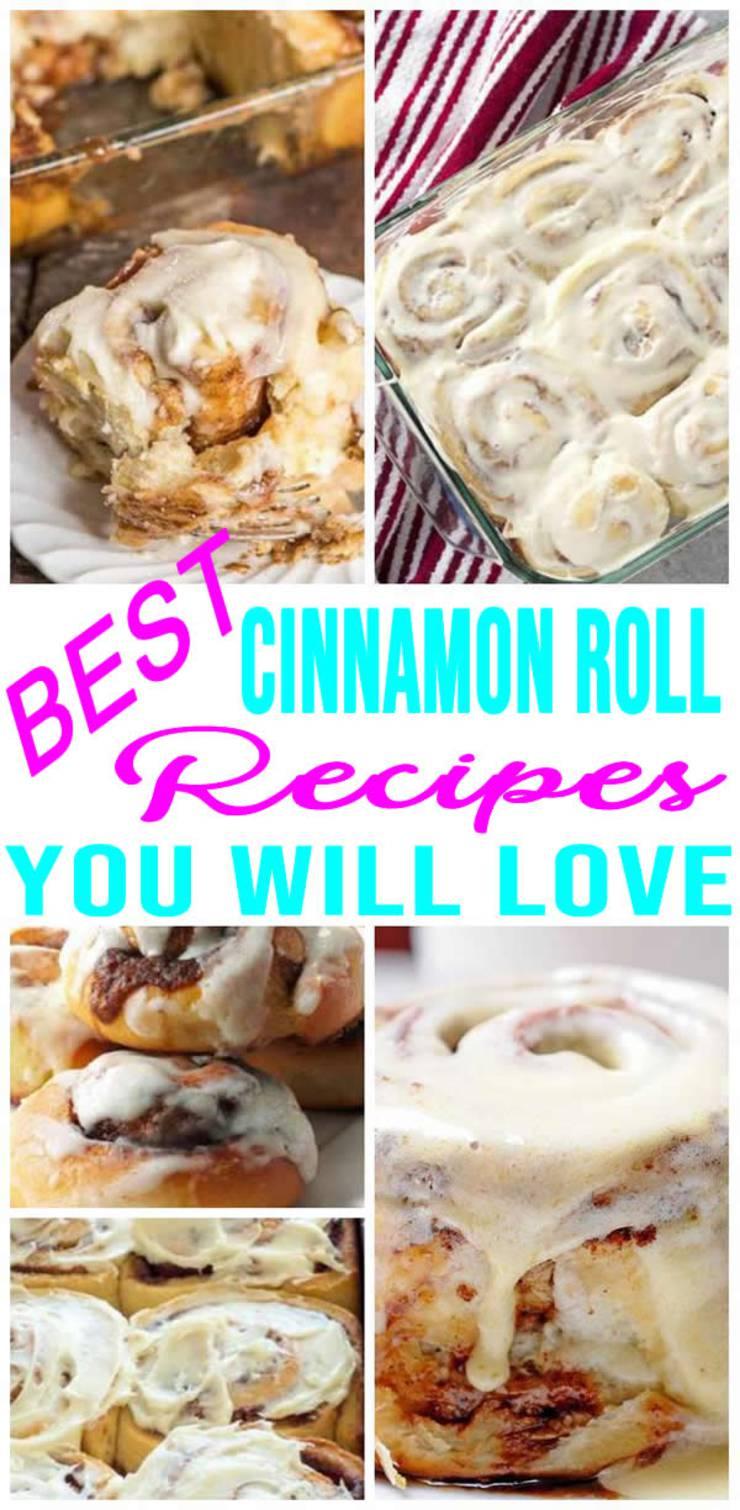 BEST Cinnamon Rolls! Easy Homemade Cinnamon Roll Recipes - Great For Breakfast - Christmas - Make Ahead Quick Breakfast