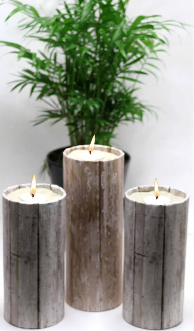 DIY Dollar Store Crafts! Dollar Store Hacks - Decor Projects - Rustic Wood Candle Holders {Easy & Quick}