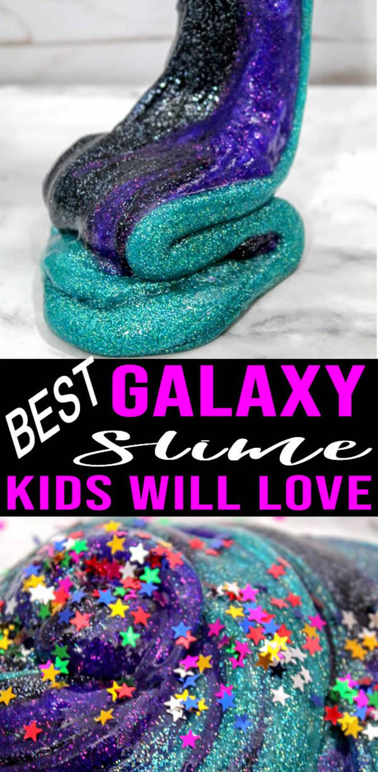 DIY Galaxy Slime – How To Make Homemade Galaxy Slime – Easy & Fun Recipe For Kids – Glitter - Swirls – BEST Slime - Great Party Favors