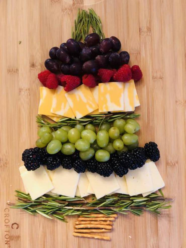 Christmas Tree Fruit And Cheese Board
