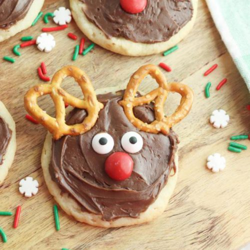 Christmas Cookies – BEST Rudolph The Red Nose Reindeer Cookie Recipe – {Easy} Sugar Cookies – Party Food - Desserts – Snacks