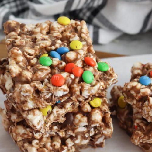 Chocolate Popcorn Bars! BEST Marshmallow Popcorn Bars Recipe – EASY No Bake Food Ideas – Kids Party Food – Snacks – Desserts