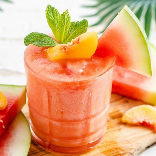 Alcoholic Drinks – BEST Watermelon Peach Daiquiri Recipe – Easy and Simple Blended Cocktail Alcohol Drinks