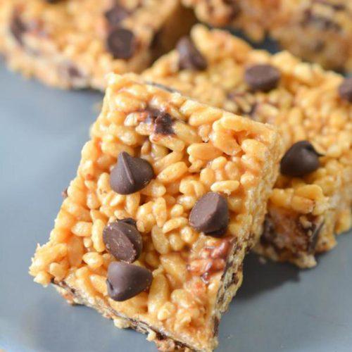 {Easy} Keto Peanut Butter Chocolate Chip Rice Krispies Treats Recipe – Low Carb Desserts – Snacks - Gluten Free